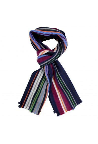 Salvatore Ferragamo Multi-Color 100% Wool Striped Logo Print Shawl Scarf