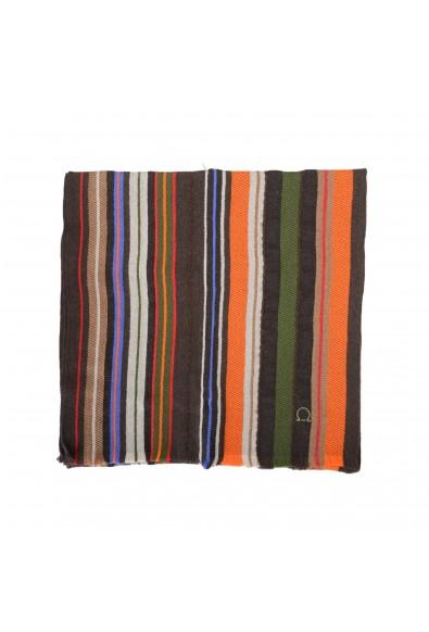 Salvatore Ferragamo Multi-Color 100% Wool Striped Logo Print Shawl Scarf: Picture 2