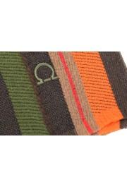 Salvatore Ferragamo Multi-Color 100% Wool Striped Logo Print Shawl Scarf: Picture 3