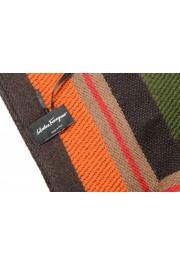 Salvatore Ferragamo Multi-Color 100% Wool Striped Logo Print Shawl Scarf: Picture 4