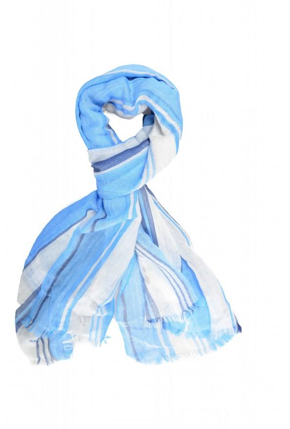 Salvatore Ferragamo Multi-Color Linen Cashmere Striped Shawl Scarf