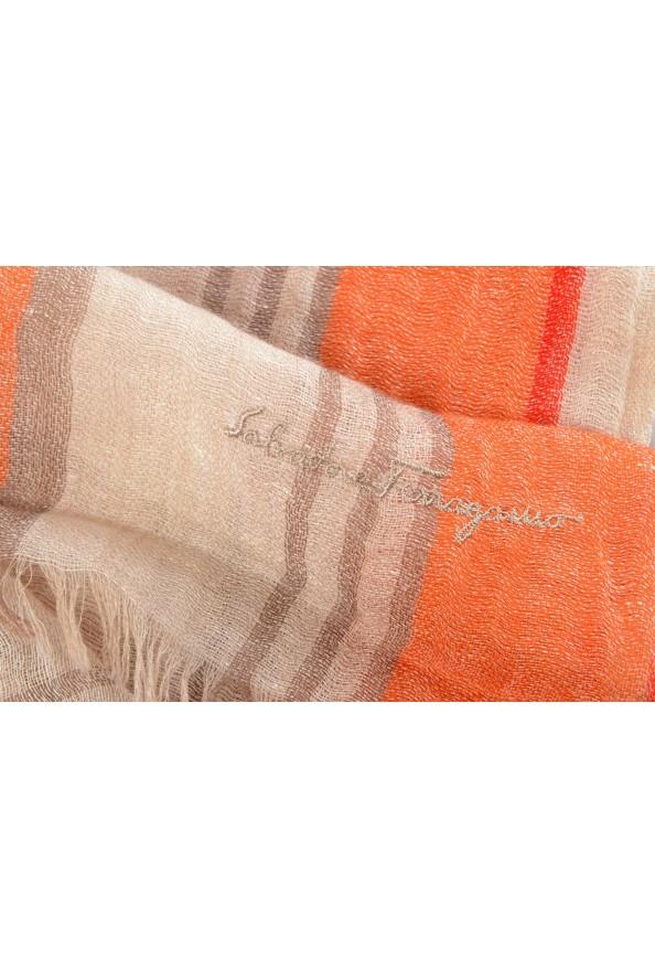 Salvatore Ferragamo Multi-Color Linen Cashmere Striped Shawl Scarf: Picture 5