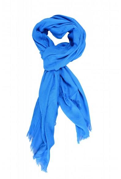 Versace Royal Blue Logo Print Large Shawl Scarf