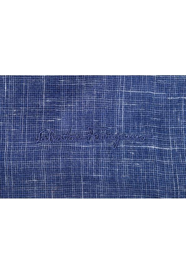 Salvatore Ferragamo Blue Silk Linen Cashmere Graphic Print Shawl Scarf: Picture 3