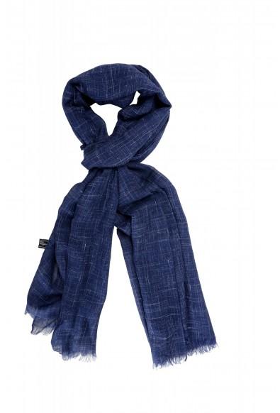 Salvatore Ferragamo Blue Silk Linen Cashmere Graphic Print Shawl Scarf