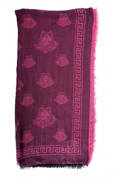 Versace Purple Wool Silk Logo Print Large Shawl Scarf