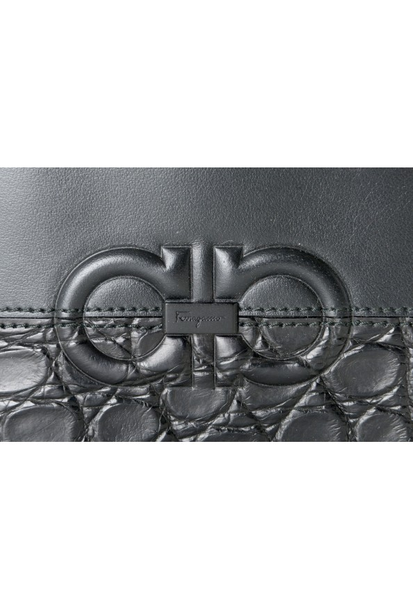 Salvatore Ferragamo Men's Black Croc Print 100% Leather Bifold Wallet: Picture 2
