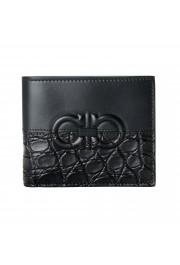 Salvatore Ferragamo Men's Black Croc Print 100% Leather Bifold Wallet