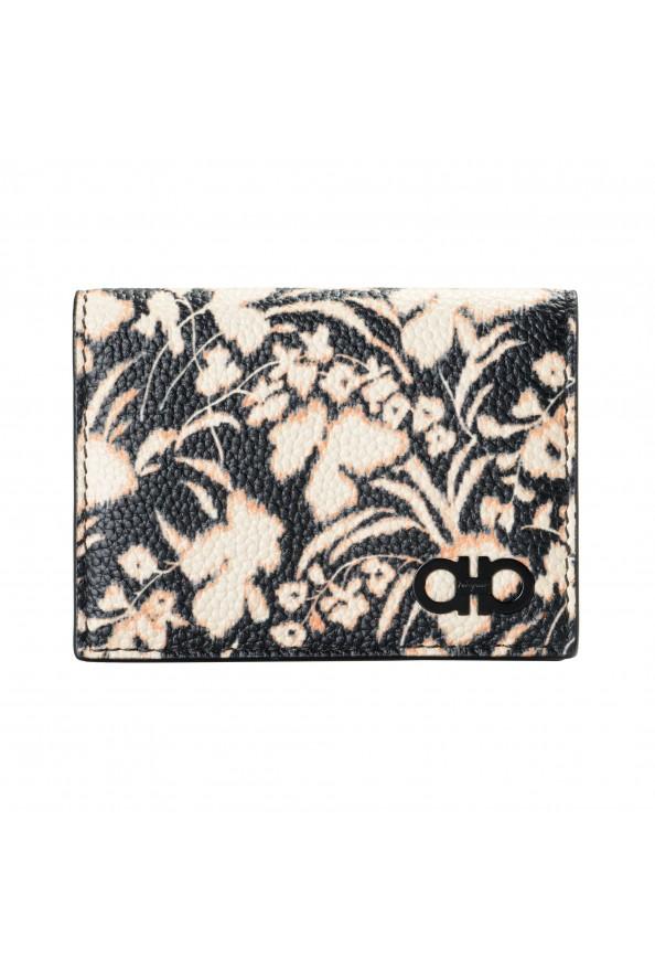 Salvatore Ferragamo Women's Pebbled Leather Floral Print Card Wallet