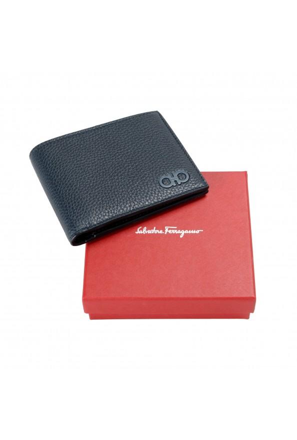 Salvatore Ferragamo Men's Navy Blue 100% Pebbled Leather Bifold Wallet: Picture 6