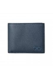 Salvatore Ferragamo Men's Navy Blue 100% Pebbled Leather Bifold Wallet