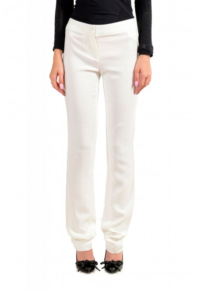Just Cavalli Women's Ivory Flat Front Casual Pants