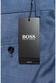 "Hugo Boss Men's ""Genius5"" Slim Fit Blue 100% Wool Flat Front Pants: Picture 4"