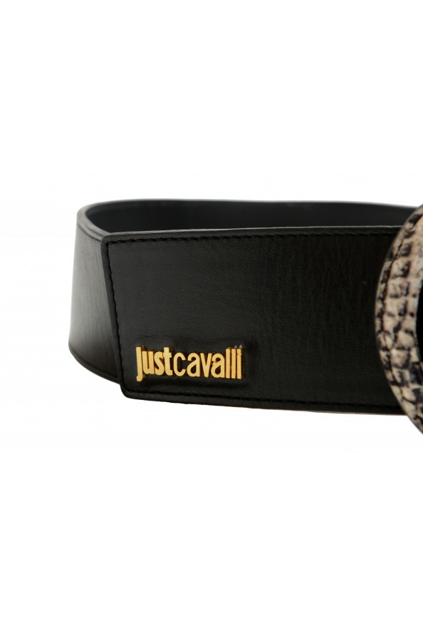 Just Cavalli Women's Black Leather Buckle Decorated Belt: Picture 2