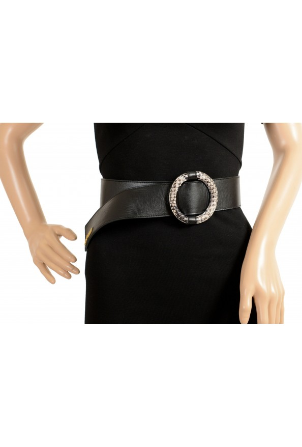 Just Cavalli Women's Black Leather Buckle Decorated Belt: Picture 4