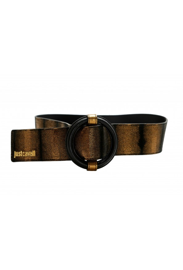 Just Cavalli Women's 100% Textured Leather Buckle Decorated Belt