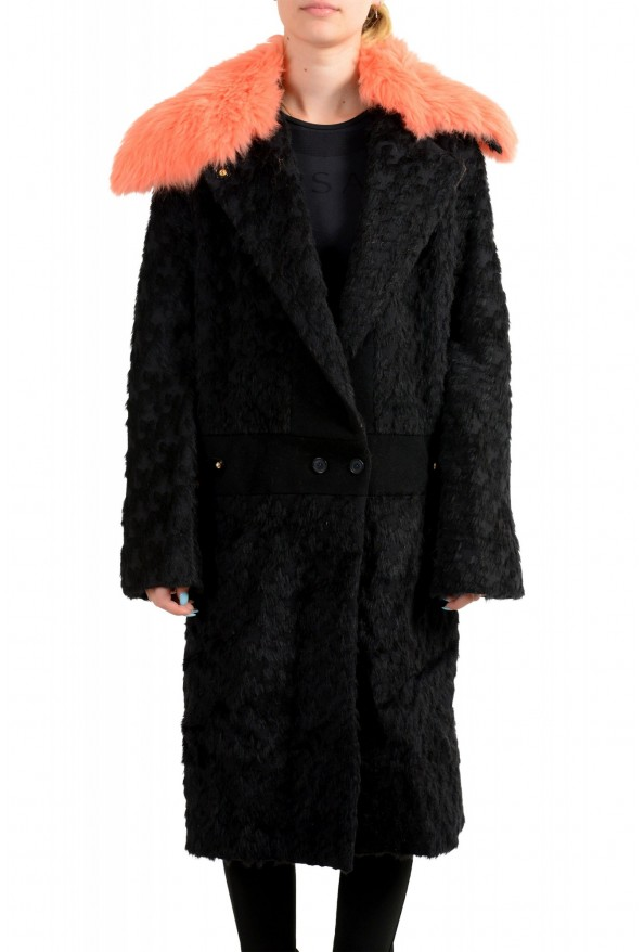 Just Cavalli Women's Wool Alpaca Rabithair Trimmed Collar Coat : Picture 8
