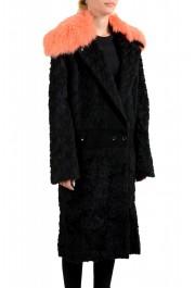 Just Cavalli Women's Wool Alpaca Rabithair Trimmed Collar Coat