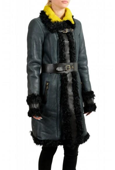 Just Cavalli Women's 100% Lamb Fur Goat Hair Trimmed Shearling Coat : Picture 2