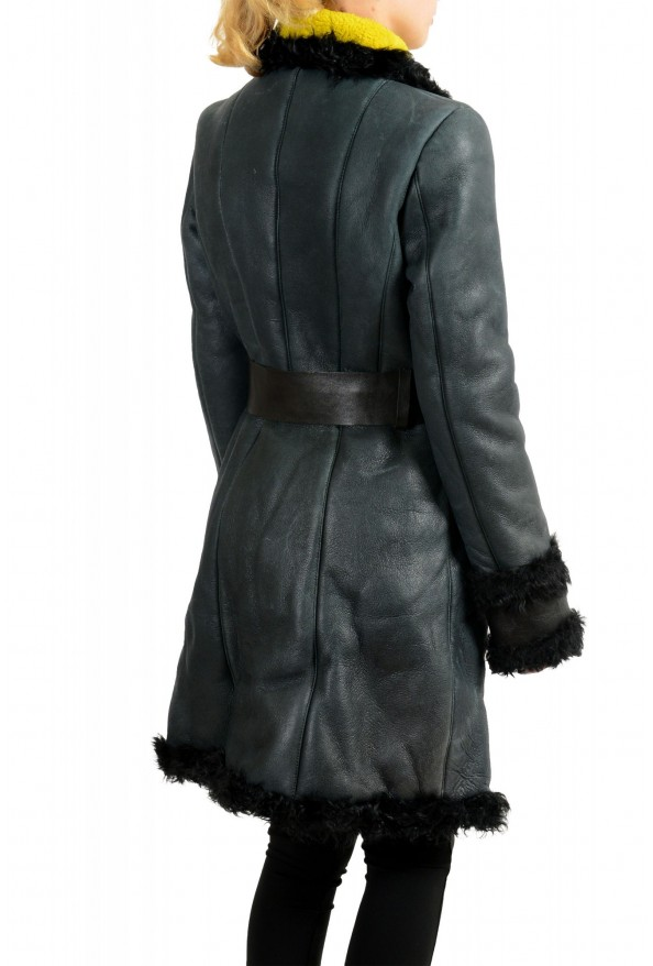 Just Cavalli Women's 100% Lamb Fur Goat Hair Trimmed Shearling Coat : Picture 3