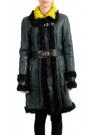 Just Cavalli Women's 100% Lamb Fur Goat Hair Trimmed Shearling Coat