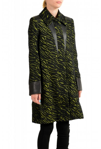 Just Cavalli Women's Black & Green Wool Leather Trimmed Coat : Picture 2