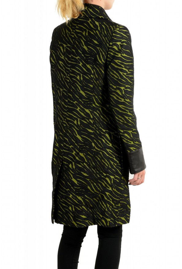 Just Cavalli Women's Black & Green Wool Leather Trimmed Coat : Picture 3