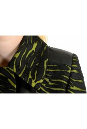 Just Cavalli Women's Black & Green Wool Leather Trimmed Coat : Picture 4