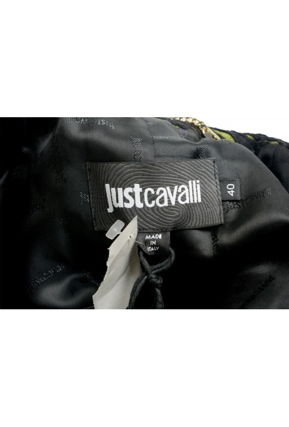 Just Cavalli Women's Black & Green Wool Leather Trimmed Coat : Picture 5