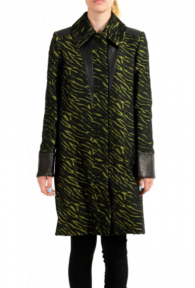 Just Cavalli Women's Black & Green Wool Leather Trimmed Coat