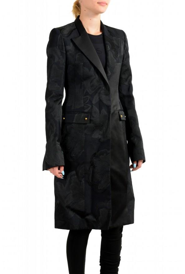 Just Cavalli Women's Black Floral Print Button Down Coat : Picture 2