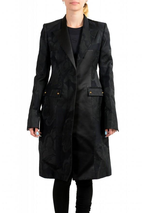Just Cavalli Women's Black Floral Print Button Down Coat