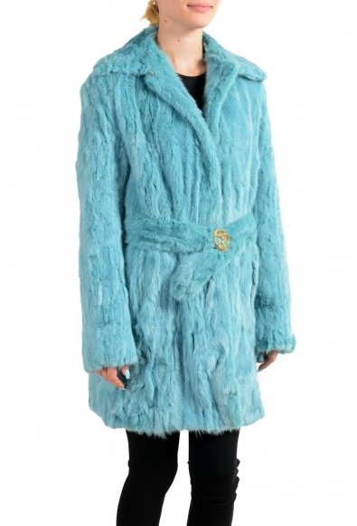 Just Cavalli Women's Blue Belted Mink Fur Coat : Picture 2