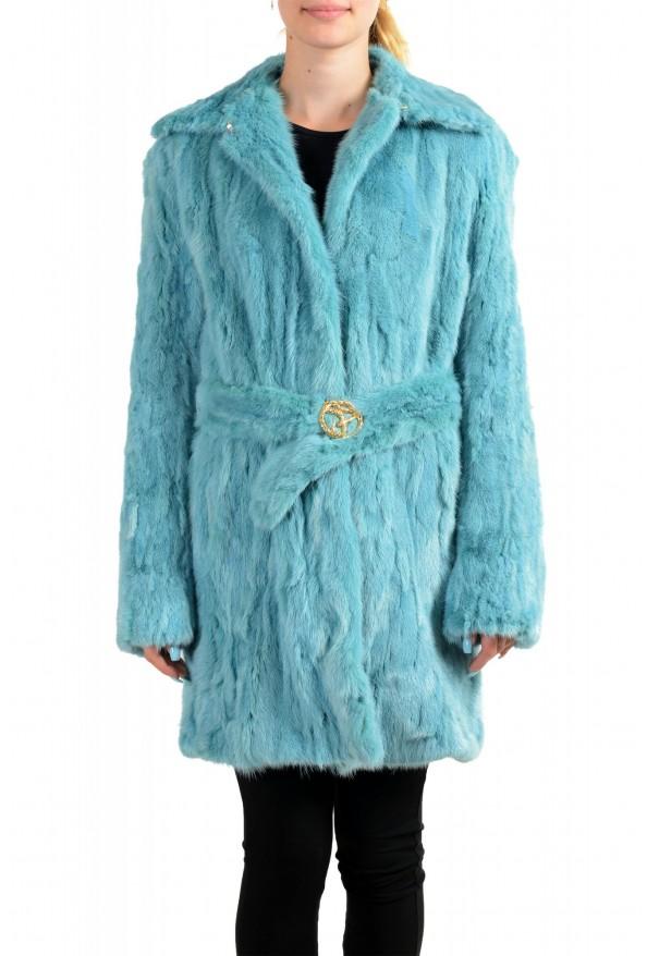 Just Cavalli Women's Blue Belted Mink Fur Coat