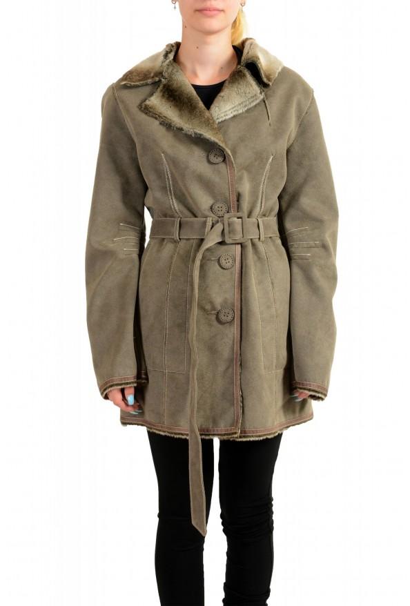 Armani Jeans AJ Women's Gray Faux Fur Shearling Coat