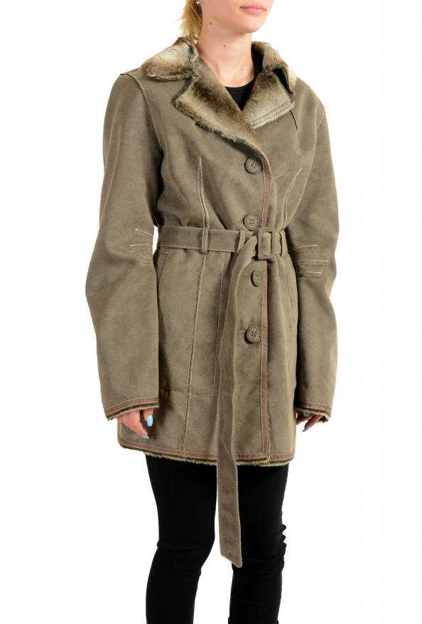 Armani Jeans AJ Women's Gray Faux Fur Shearling Coat: Picture 2