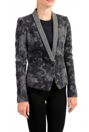 Just Cavalli Women's Gray Floral Print 100% Wool One Button Blazer : Picture 2