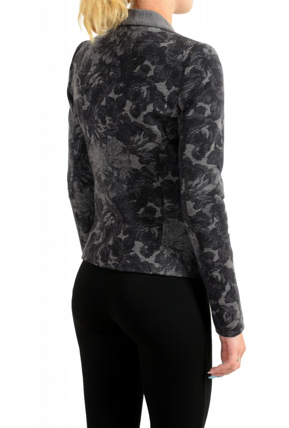 Just Cavalli Women's Gray Floral Print 100% Wool One Button Blazer : Picture 3