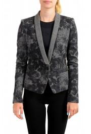 Just Cavalli Women's Gray Floral Print 100% Wool One Button Blazer