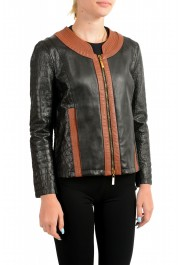 Just Cavalli Women's Perforated 100% Leather Bomber Jacket : Picture 2