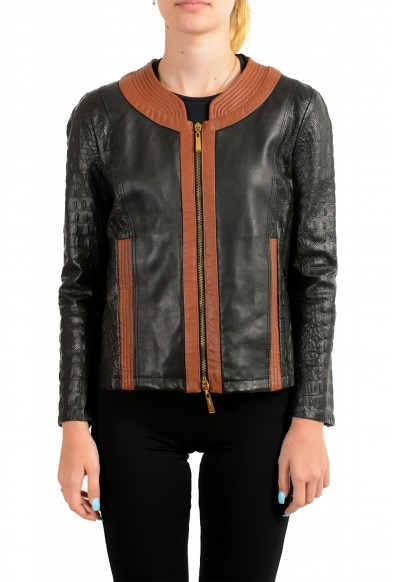 Just Cavalli Women's Perforated 100% Leather Bomber Jacket