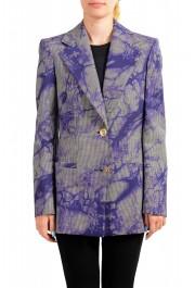 Versace Women's Wool Plaid Two Button Blazer