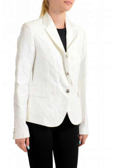 Moncler Women's White Silk Star Print Button Down Blazer: Picture 2