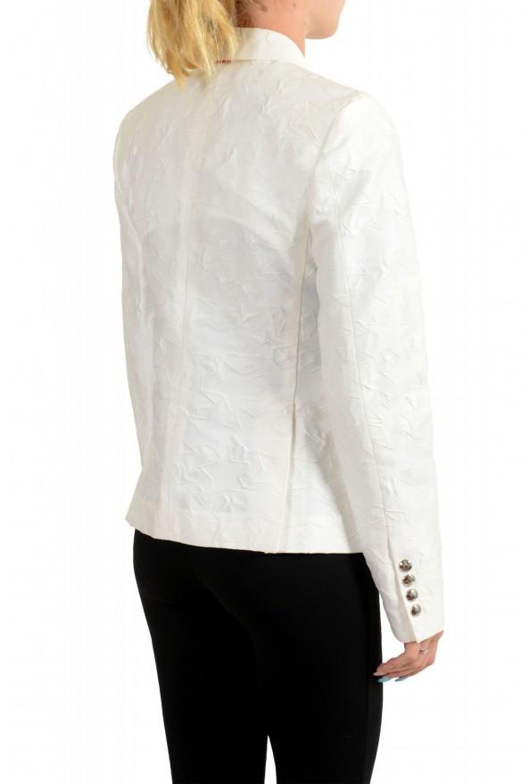 Moncler Women's White Silk Star Print Button Down Blazer: Picture 3