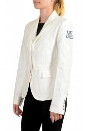 Moncler Women's White Silk Star Print Button Down Blazer: Picture 4