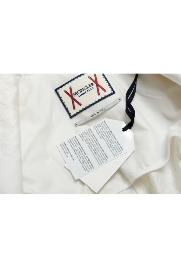 Moncler Women's White Silk Star Print Button Down Blazer: Picture 8