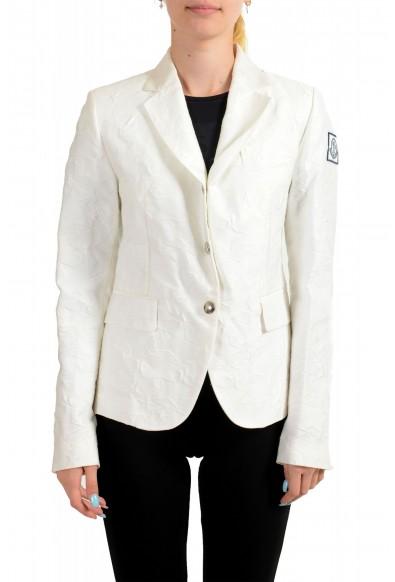 Moncler Women's White Silk Star Print Button Down Blazer