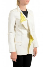 Just Cavalli Women's Ivory 100% Leather One Button Blazer : Picture 2