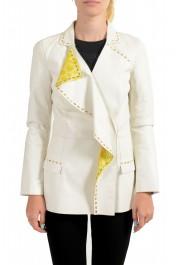 Just Cavalli Women's Ivory 100% Leather One Button Blazer
