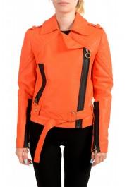 Just Cavalli Women's Bright Orange 100% Leather Bomber Jacket